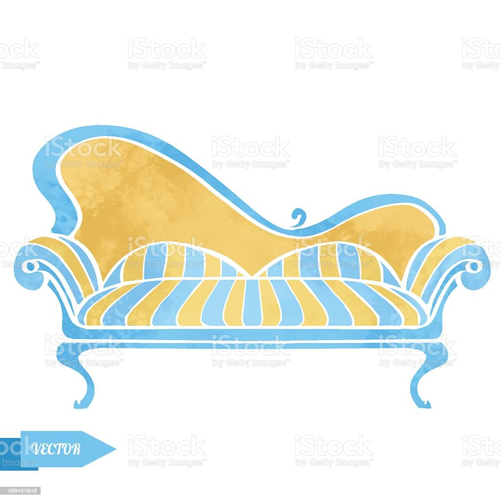 Swell Vintage Watercolor Sofa Stock Illustration Download Image Creativecarmelina Interior Chair Design Creativecarmelinacom