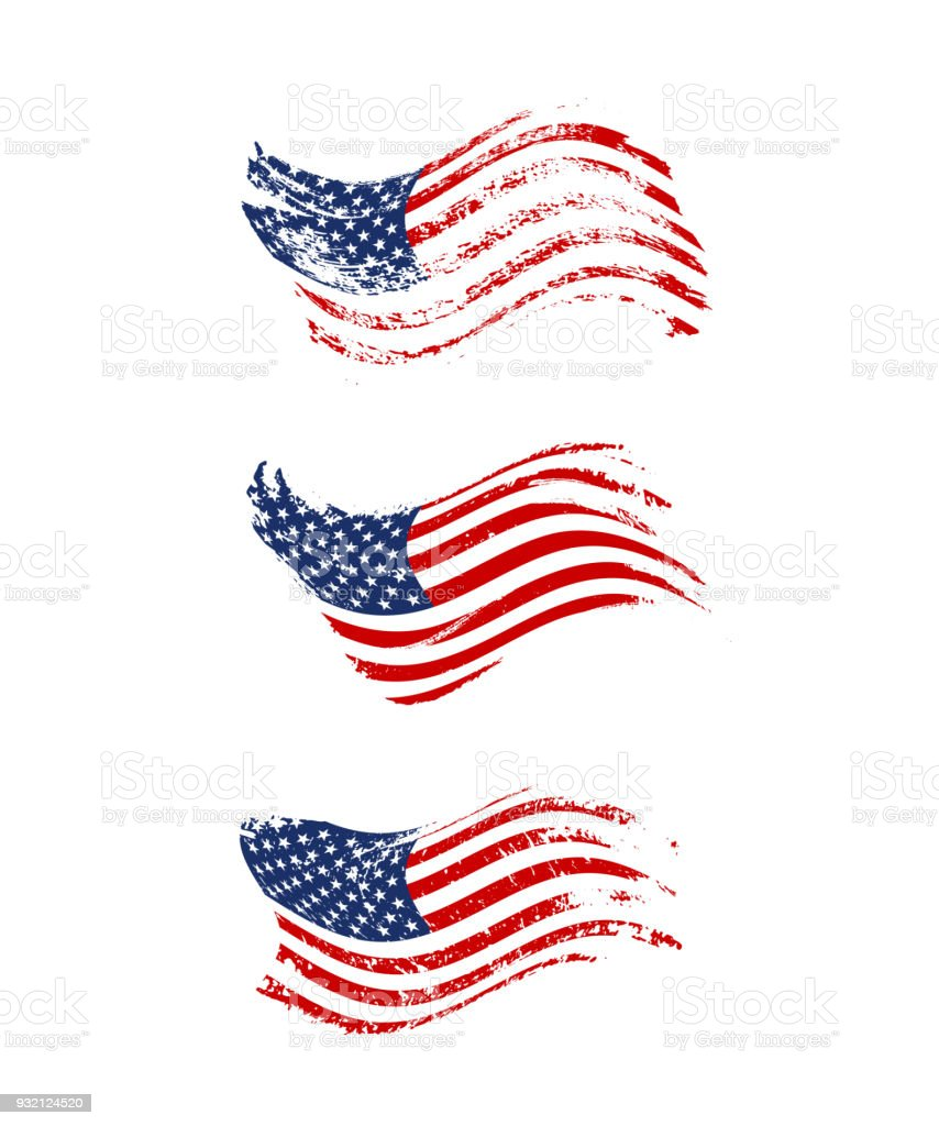 Vintage Waving USA Flag Set Vector American Flags On Grunge Texture Royalty