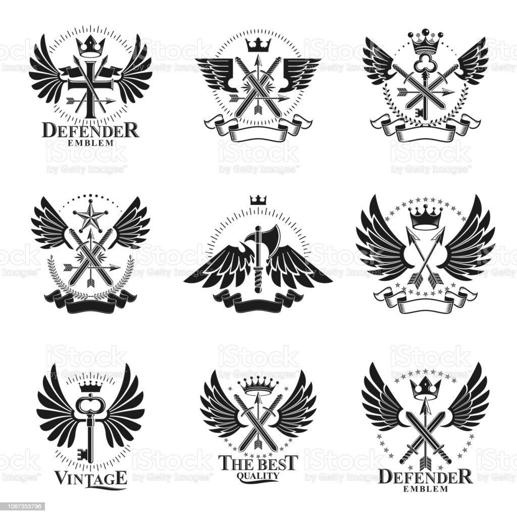 Conjunto de emblemas vintage de arma. Coleção de emblemas decorativos brasão heráldico. - ilustração de arte em vetor