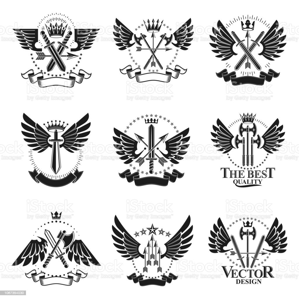 Conjunto de emblemas vintage de arma. Coleção de ilustrações vetor isoladas emblemas decorativos brasão heráldico. - ilustração de arte em vetor