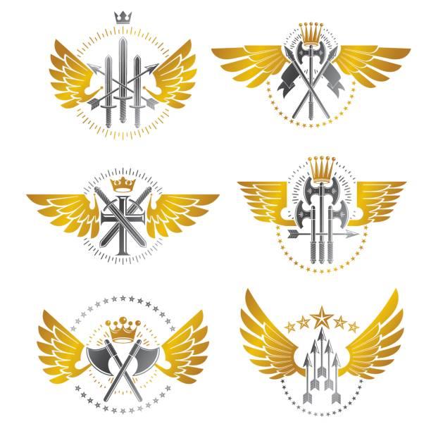 vintage waffe embleme set. heraldische wappen dekorative embleme isoliert vektor illustrationen sammlung. - schutzengel stock-grafiken, -clipart, -cartoons und -symbole