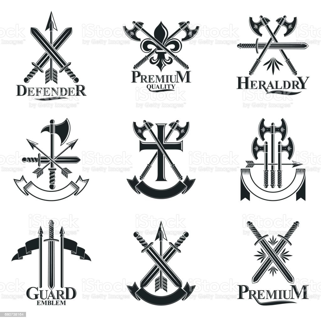 Vintage Weapon Emblems set. Heraldic signs vector vintage elements collection. vector art illustration