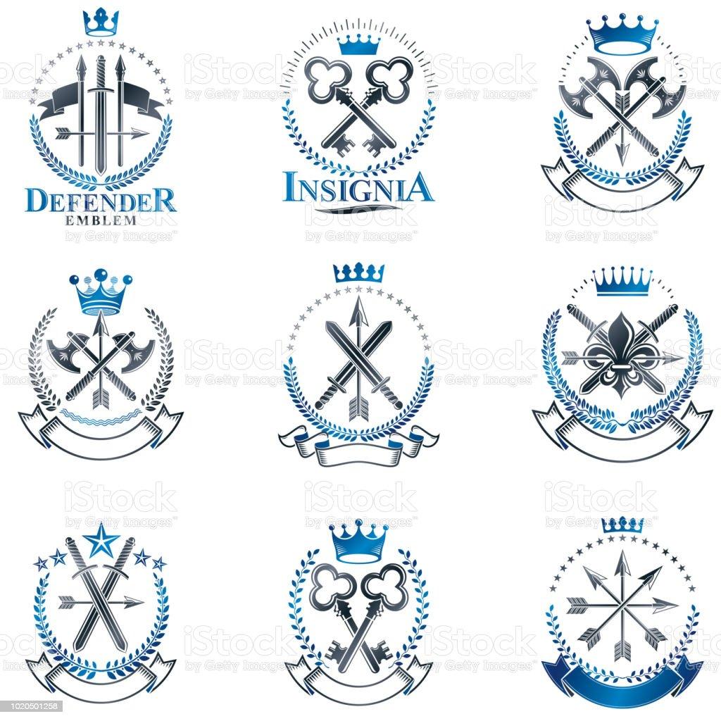 Conjunto de emblemas vintage de arma. Coleção de elementos do vetor vintage design. Rótulo de estilo retrô, heráldica. - ilustração de arte em vetor
