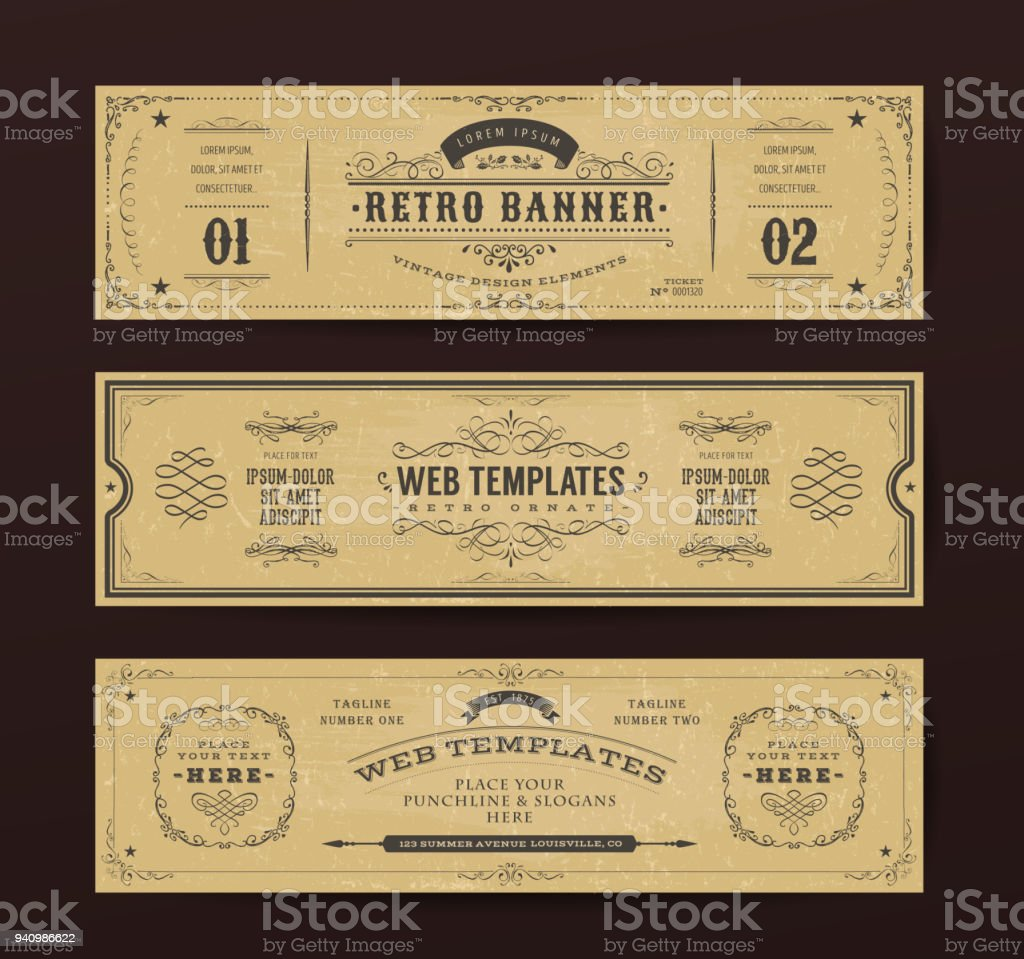 Vintage Website Banners Templates royalty-free vintage website banners templates stock illustration - download image now