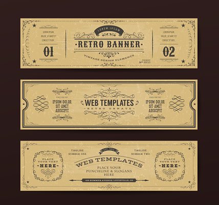 Illustration of a set of retro design web header templates, with banners, floral patterns and ornaments on chalkboard wide background
