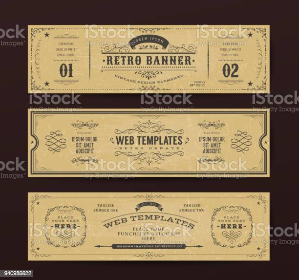 Vintage website banners templates vector id940986622?b=1&k=6&m=940986622&s=612x612&h=2jypn9zgxwffucichq xypko6f uo25flrjngc 39x8=