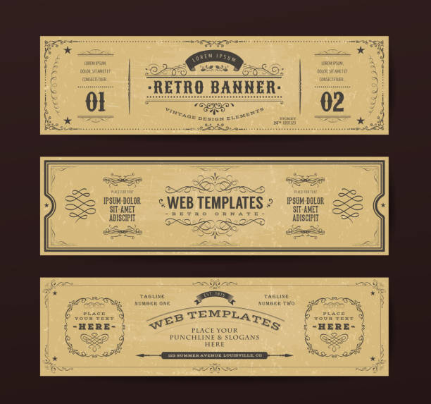 Vintage Website Banners Templates Illustration of a set of retro design web header templates, with banners, floral patterns and ornaments on chalkboard wide background old fashioned stock illustrations