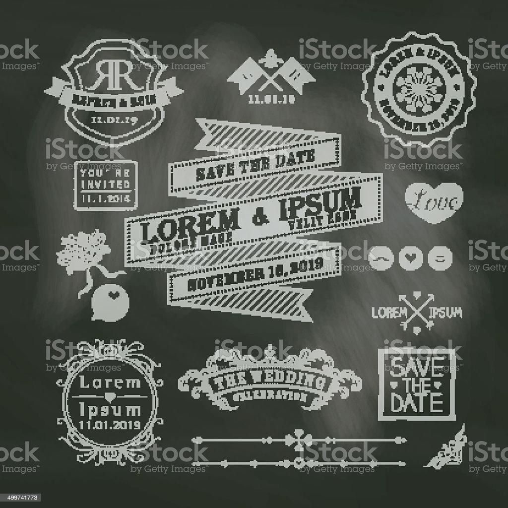 Vintage Wedding Border And Frames On Chalkboard Background Royalty Free
