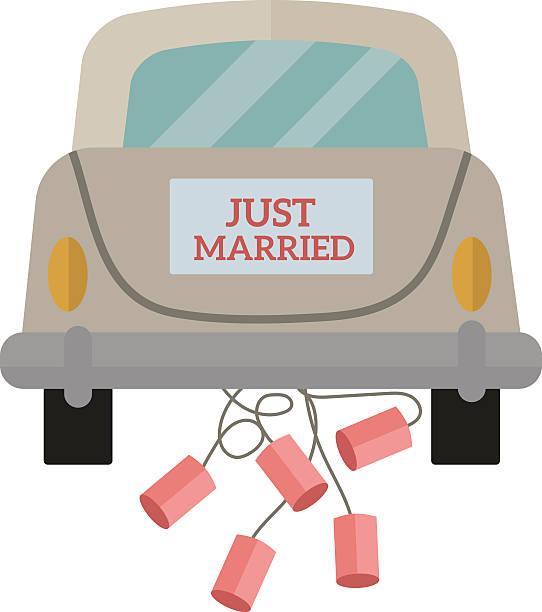 jahrgang hochzeit auto mit nur verheiratet zeichen und dosen angeschlossen - hochzeitspaare stock-grafiken, -clipart, -cartoons und -symbole