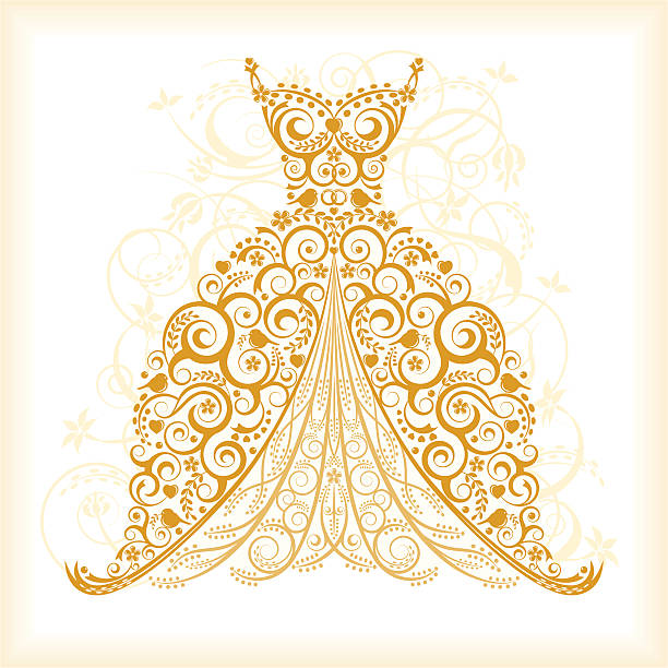 Wedding Gown Clip Art: Gold Dress Clip Art, Vector Images & Illustrations