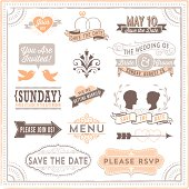 Set of vintage wedding design elements.  Each design is grouped and colors are global for easy editing.  Download includes zipped AI CS1 file with editable text.