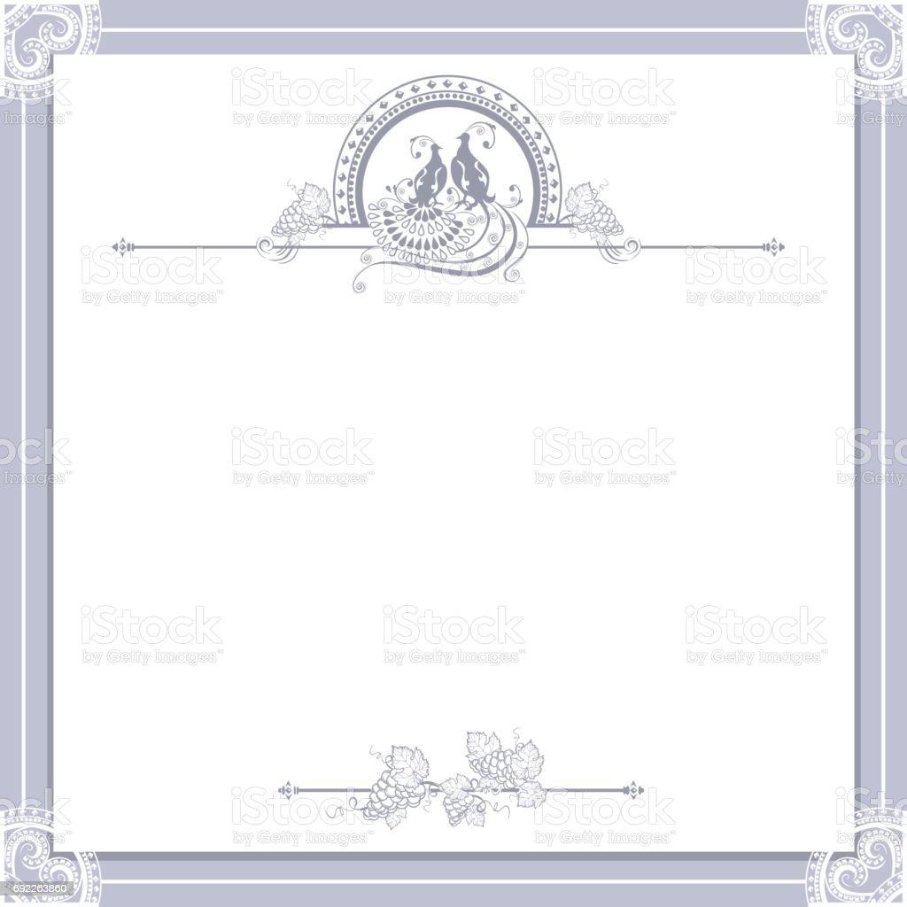 Vintage Hochzeit Rahmen Mit Vogel Stock Vektor Art und mehr Bilder ...