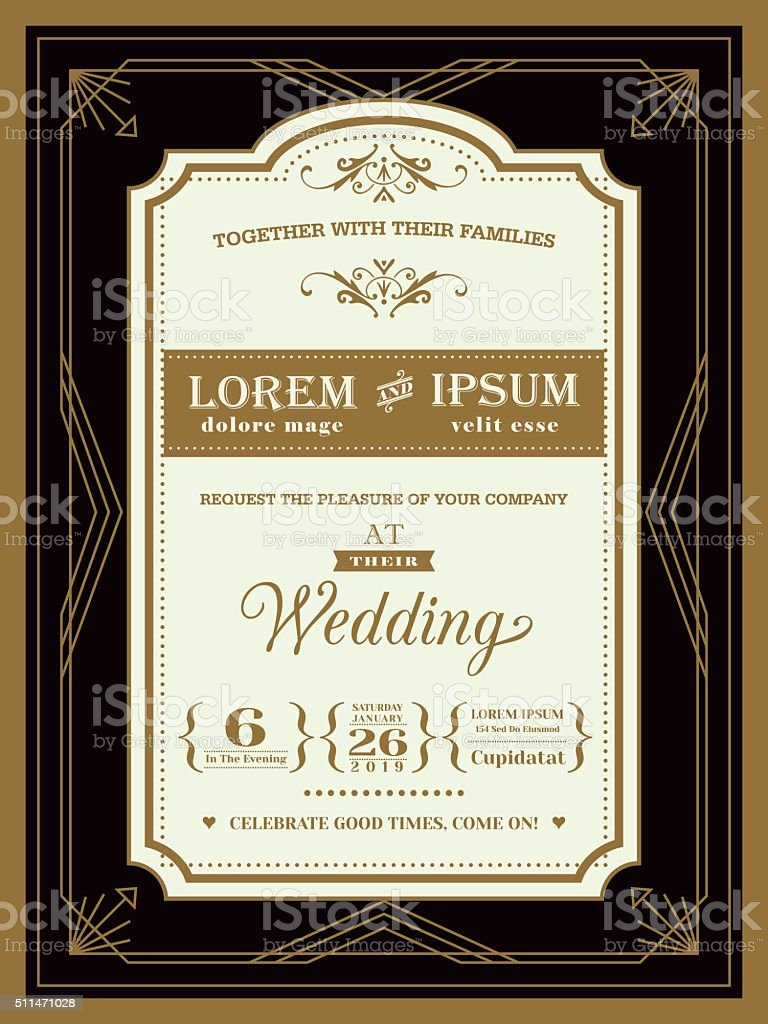 Vintage Wedding invitation border and frame template vector art illustration