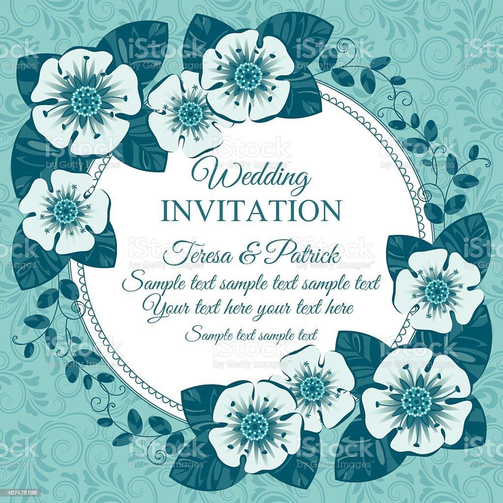 Vintage Hochzeit Einladung Karte Blau Stock Vektor Art Und Mehr