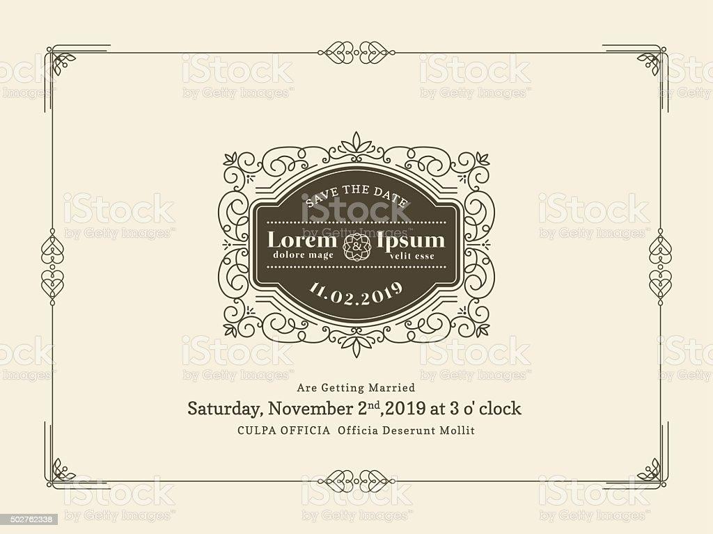 Vintage Wedding Invitation Card Border And Frame Template Stock