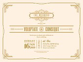 Vintage Wedding invitation card border and frame template