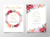Vintage wedding invitation card template set with watercolor roses and peonies flowers. Botanic decorative save the date, greeting, thank you, rsvp cards.