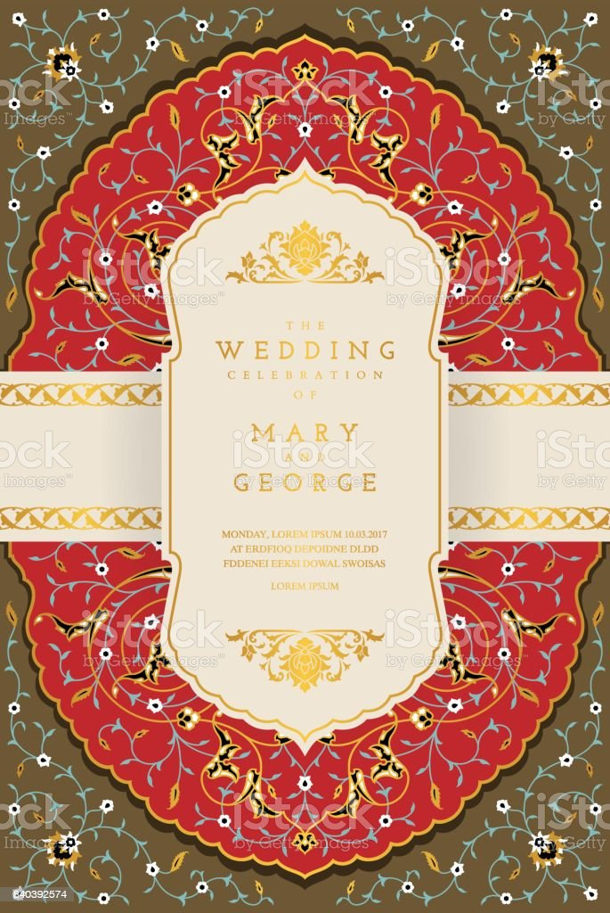 vintage wedding invitation card template with floral