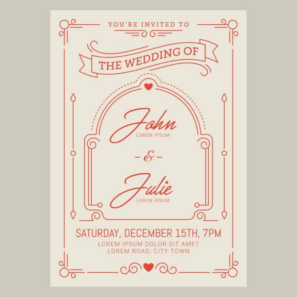 Vintage wedding invitation card. Vector illustation vector art illustration