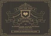 Vintage wedding invitation card vector template.