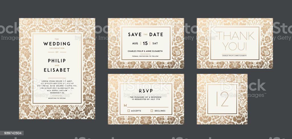 Vintage Wedding Invitation collection. Modern design vector art illustration