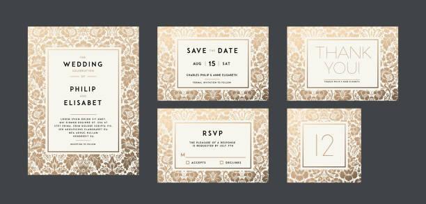 Vintage Hochzeitseinladung-Kollektion. Modernes design – Vektorgrafik
