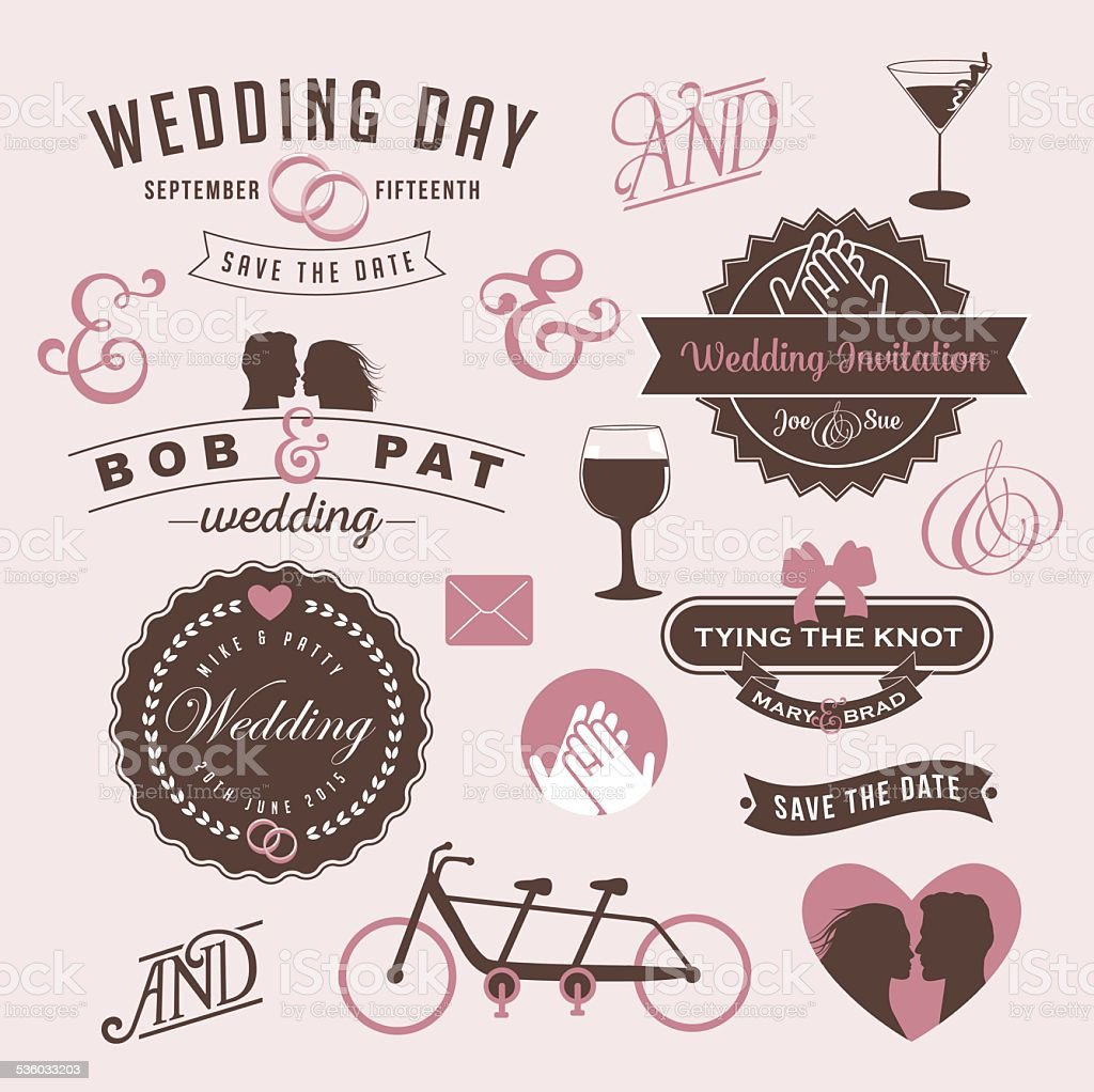 Vintage Wedding Invitation Design Graphic Elements Stock Vector Art ...
