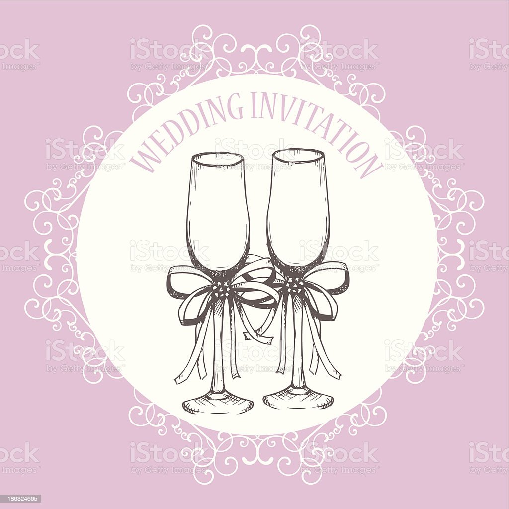 Vintage wedding invitation design with hand drawn champagne glass royalty-free stock vector art