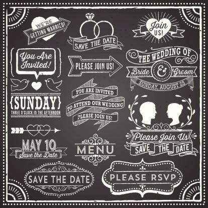 Vintage wedding invitation elements on chalkboard