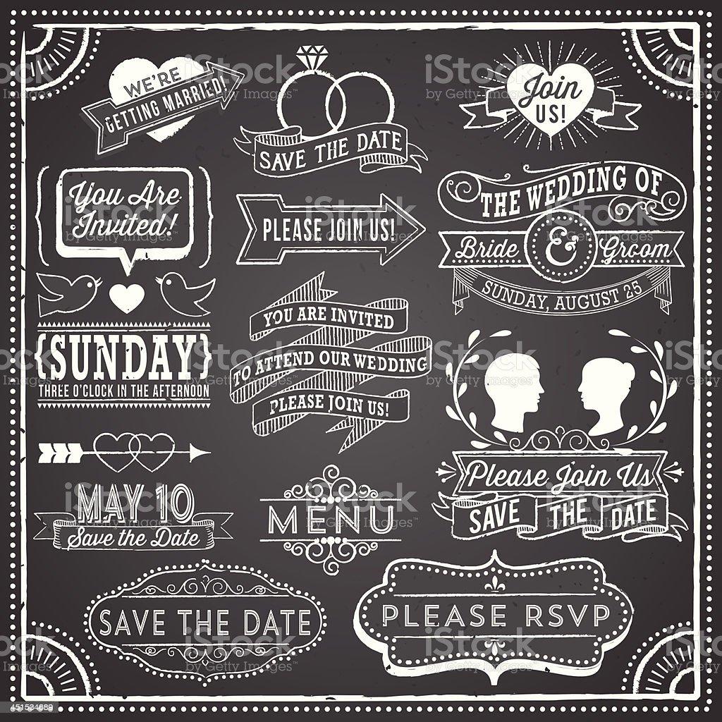 Vintage wedding invitation elements on chalkboard vector art illustration