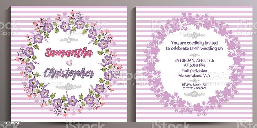 Ilustración De Vintage Invitación De Boda Tarjeta Floral