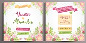 Vintage Wedding Invitation Floral Card. Double sided square card, size is 14.5x14.5 cm.