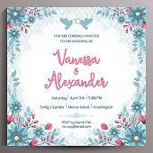 Vintage Wedding Invitation. Floral square card, size is 14.5x14.5 cm.