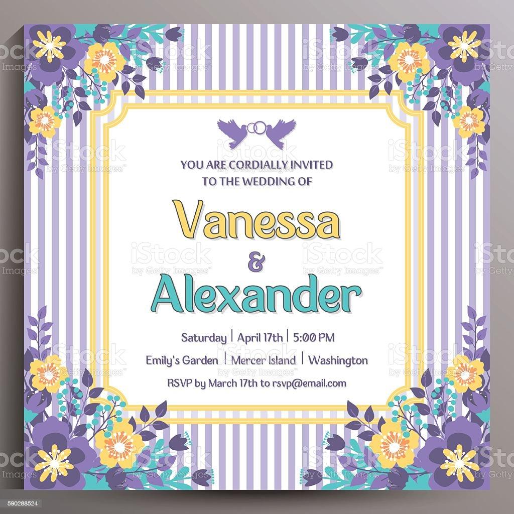 Vintage Wedding Invitation Floral Square Card Cliparts Vectoriels