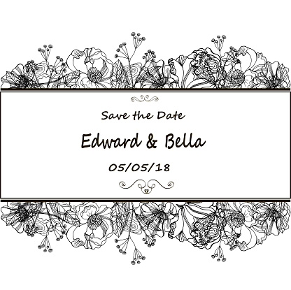 Vintage Wedding Invitation Hand Drawn Vector Meadow Flowers And Roses Black And White Illustration Stock Illustration Download Image Now Istock