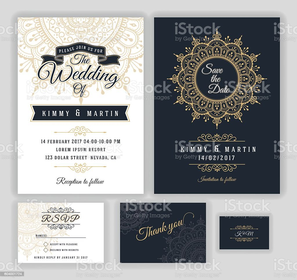 Vintage wedding invitation Mehndi mandala design - Illustration vectorielle