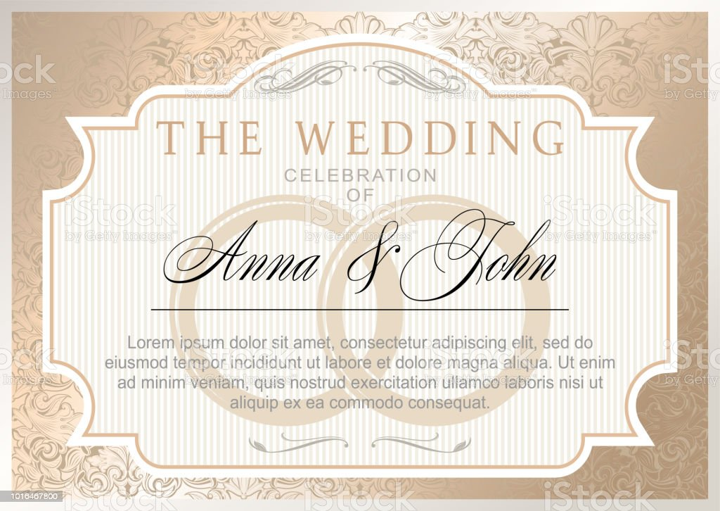 Vintage Wedding Invitation Template Gold Color Stock Illustration