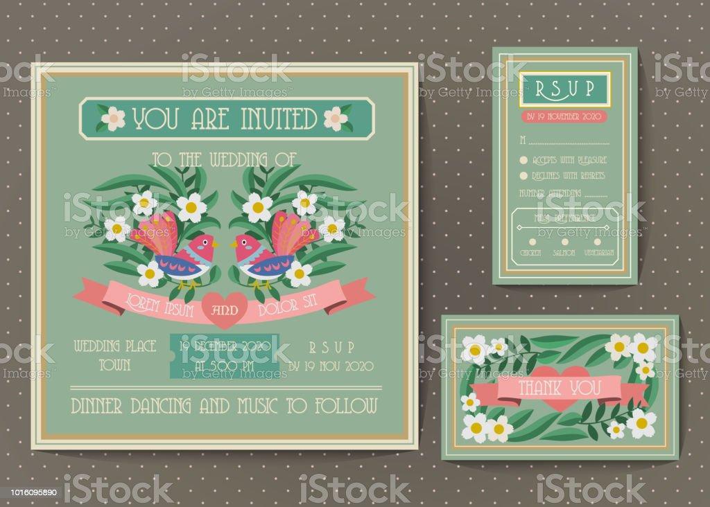 Vintage Hochzeit Einladung Vorlagensatz Stock Vektor Art Und Mehr