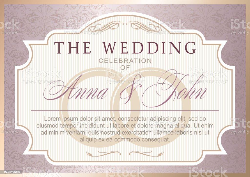 Vintage Hochzeit Einladung Vorlage Stock Vektor Art Und Mehr Bilder
