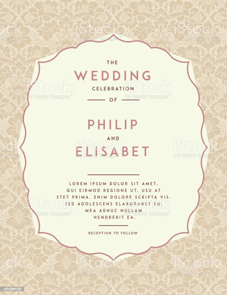 Vintage Wedding Invitation Template Stock Vector Art & More Images ...