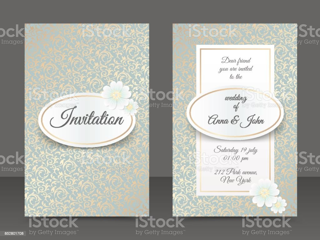 Vintage Wedding Invitation Templates Cover Design With Golden Leaves ...