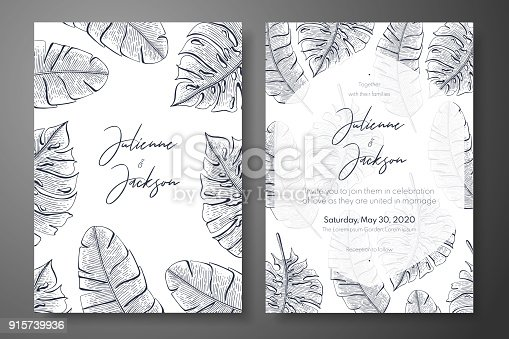 Vintage Wedding Invitation Templates With Tropical Leaves Cover ...