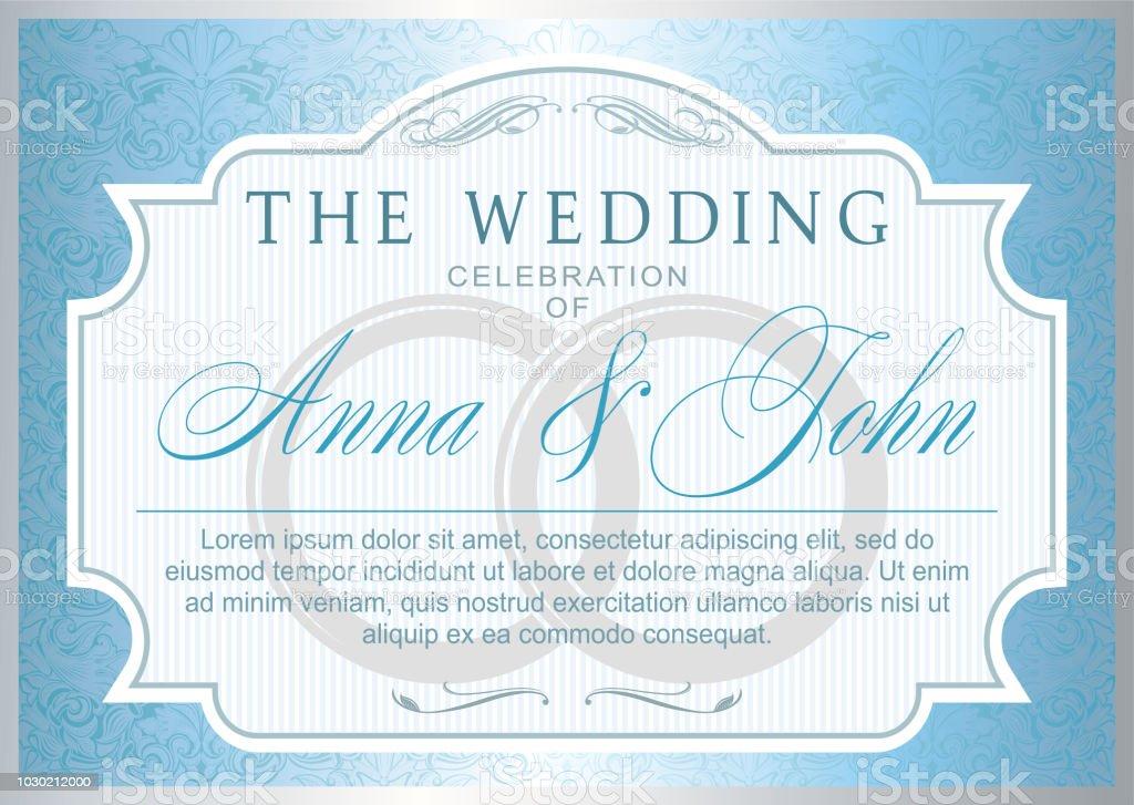 Vintage Hochzeit Einladung Vorlage Silber Und Blau Farbe Stock