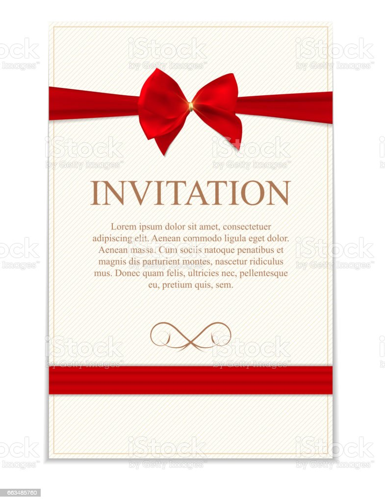 Vintage Wedding Invitation With Bow And Ribbon Template Vector I ...