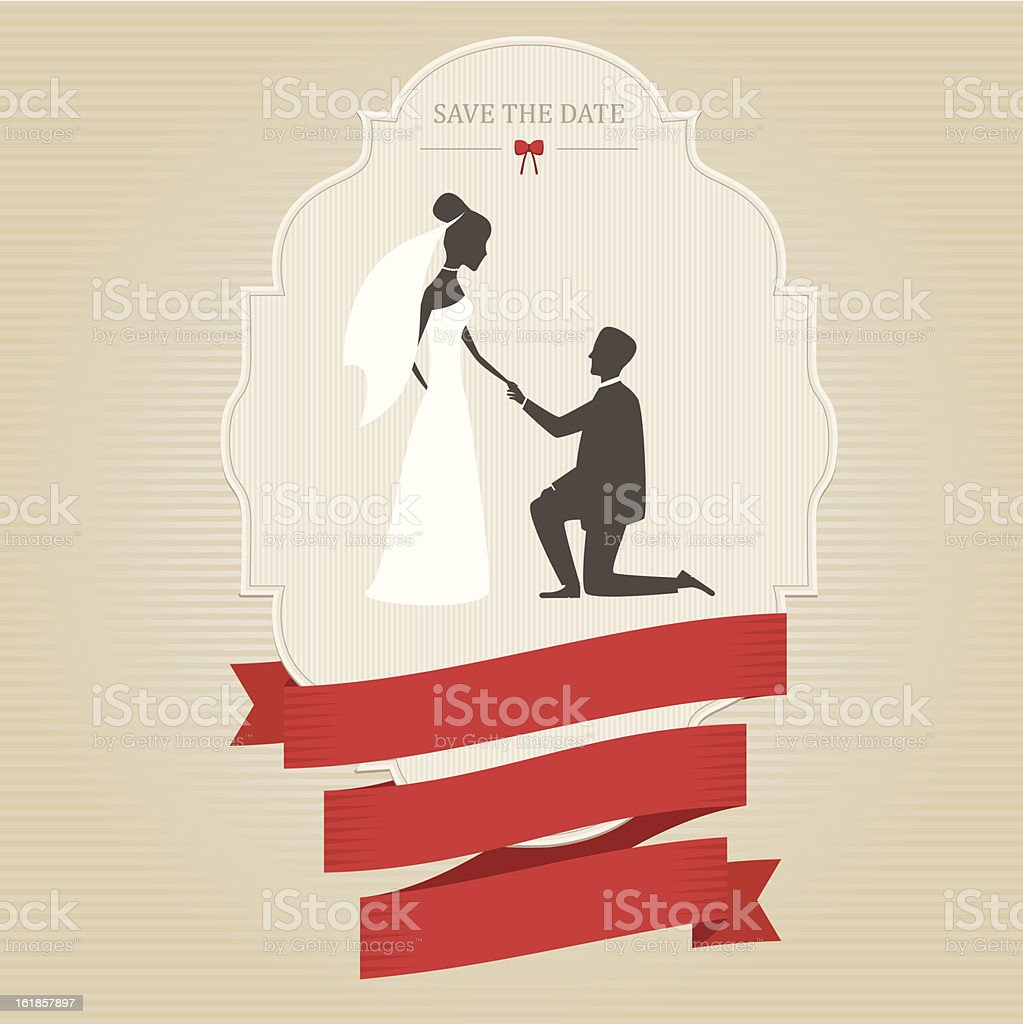 Vintage wedding invitation with bride and groom holding hands royalty-free stock vector art