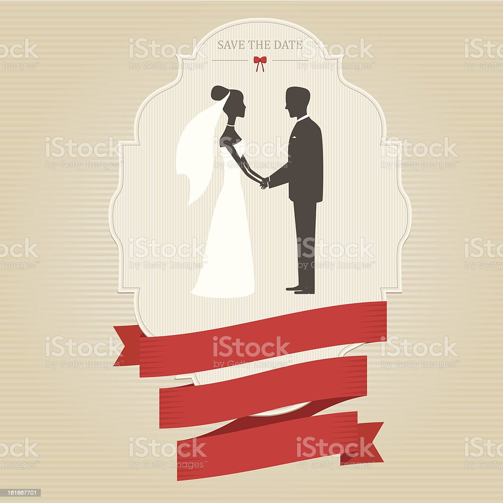 Vintage Wedding Invitation With Bride And Groom Holding Hands Stock ...