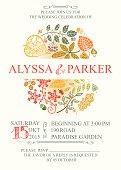 Retro wedding invitation with autumn leaves.Vector design template