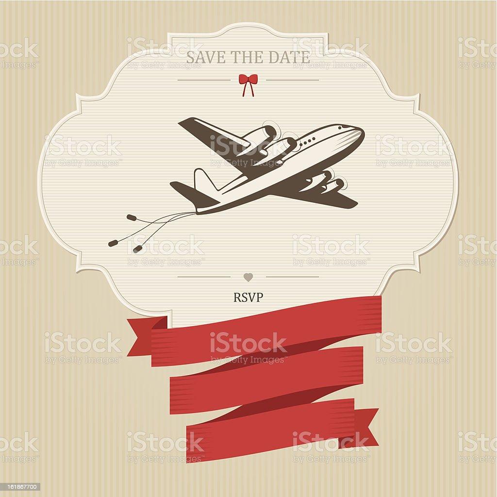 Vintage wedding invitation with retro aircraft royalty-free stock vector art