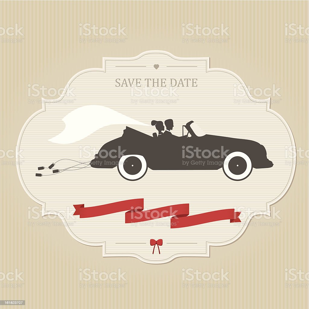 Vintage wedding invitation with retro car dragging cans vector art illustration