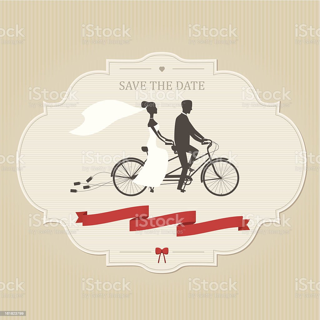 Vintage wedding invitation with tandem bicycle vector art illustration